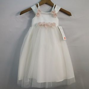 US ANGELS FLOWER GIRL DRESS IVORY SATIN ORGANZA